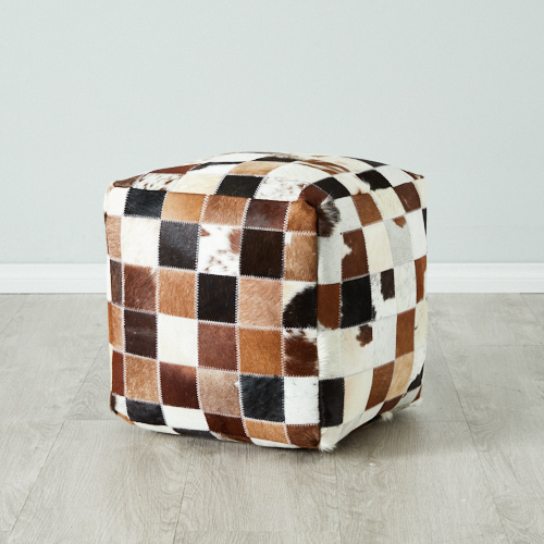 Leather Patch Ottoman