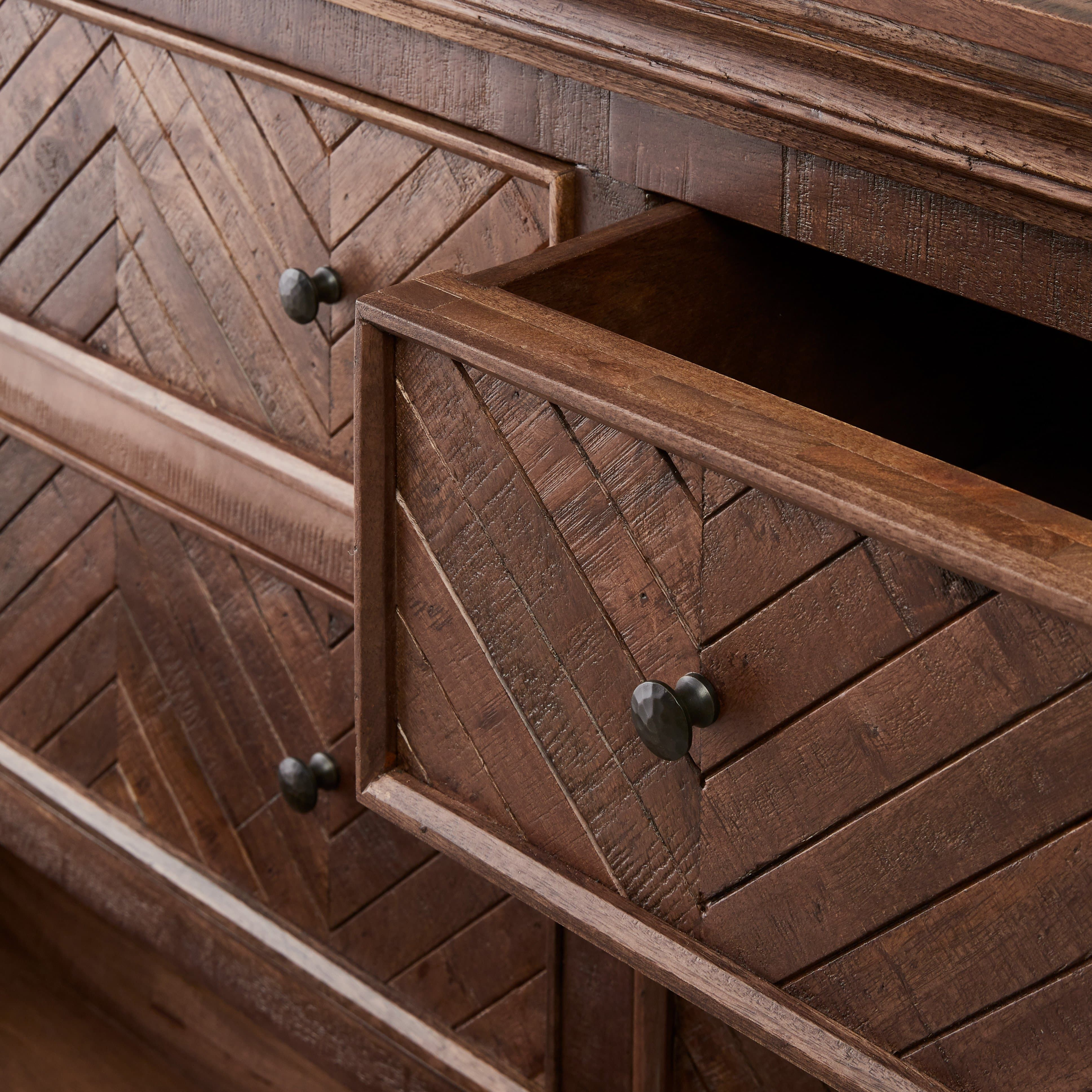 Herringbone design 6 drawer dresser