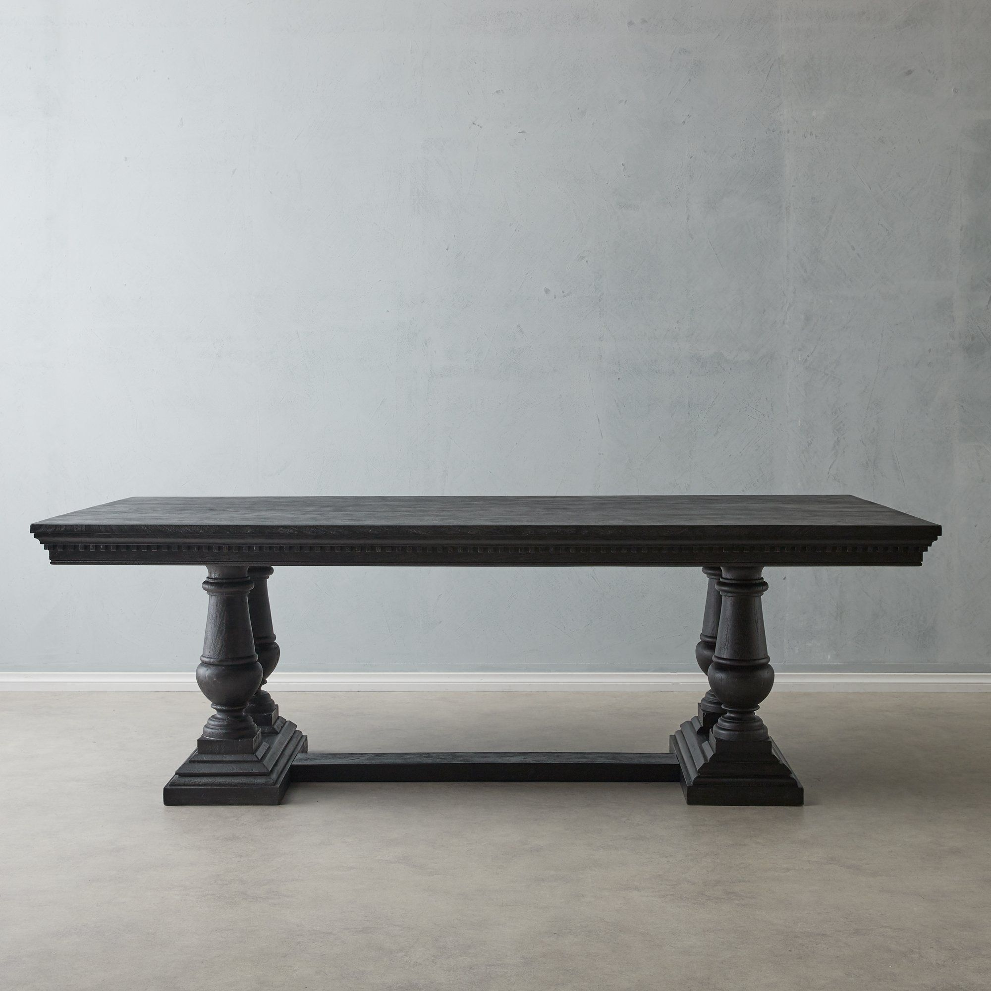 Genevieve black dining table with turned legs