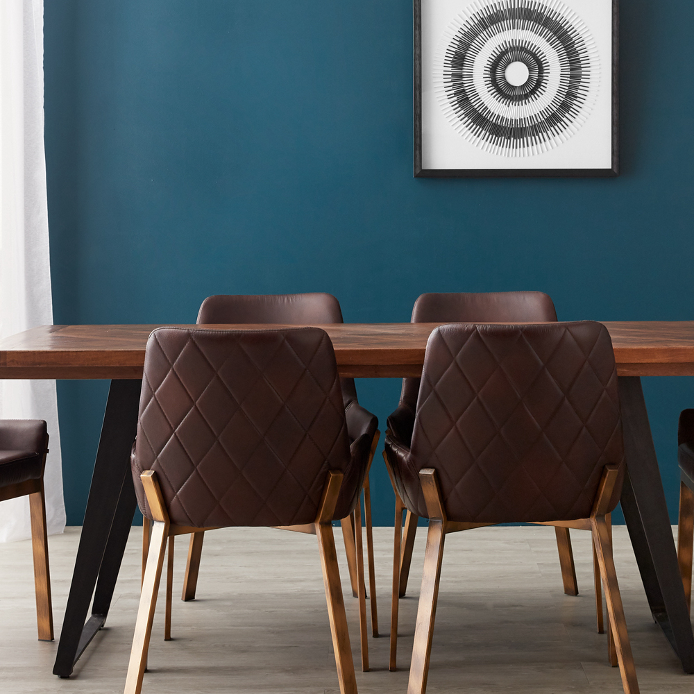 Paige parquet top 6 seater dining table