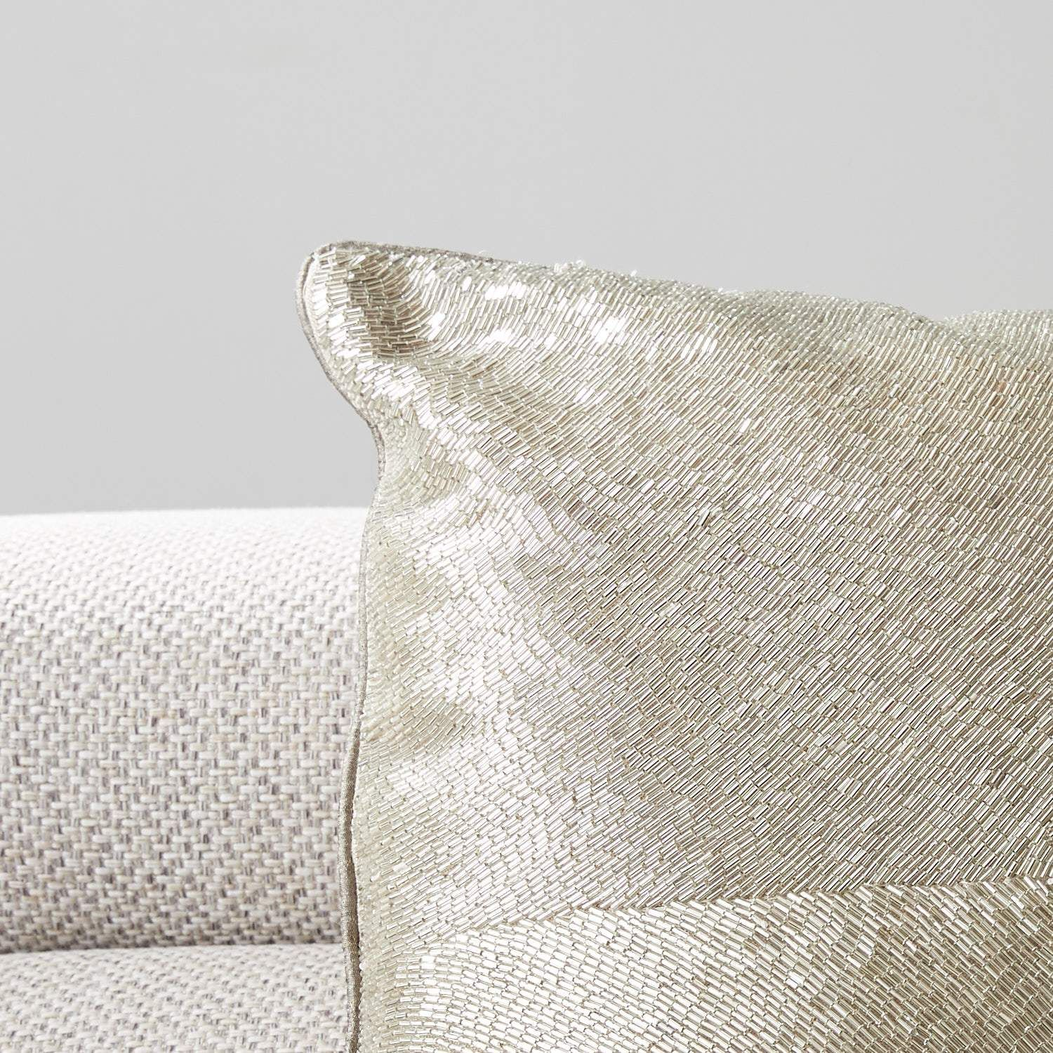 Silver Embroidered Cushion