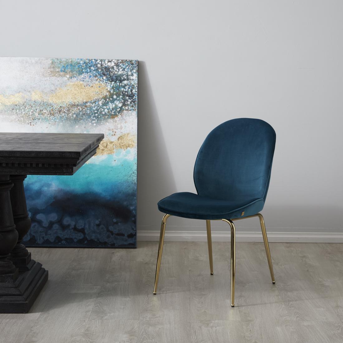 Abbey Chair - Peacock Blue Gold Leg