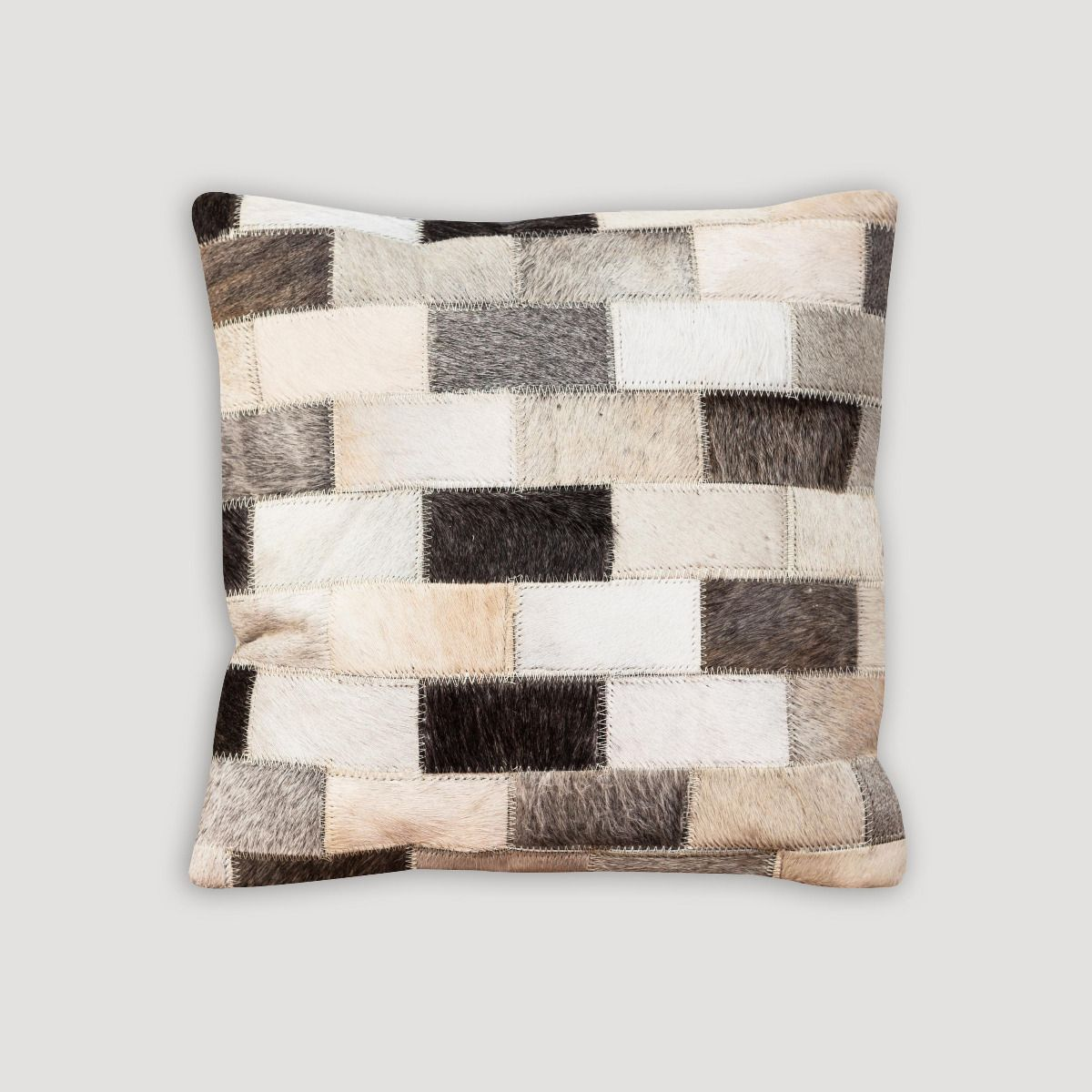 Brick Pattern Grey Leather Cushion II
