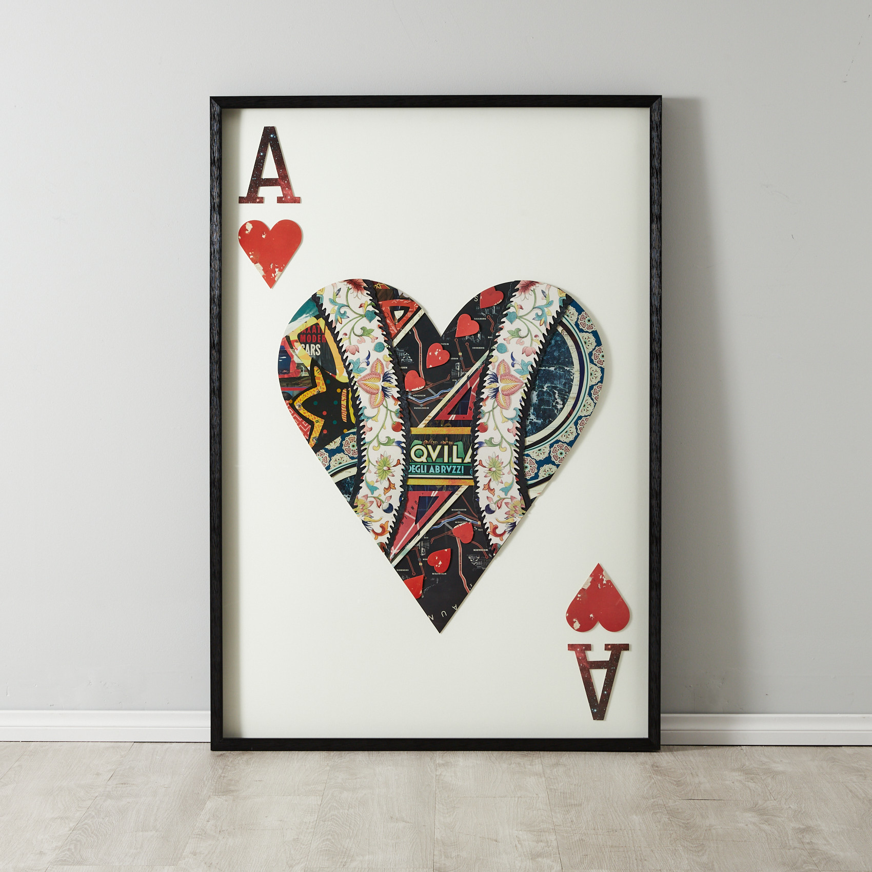 Ace of Hearts Framed Paper Collage