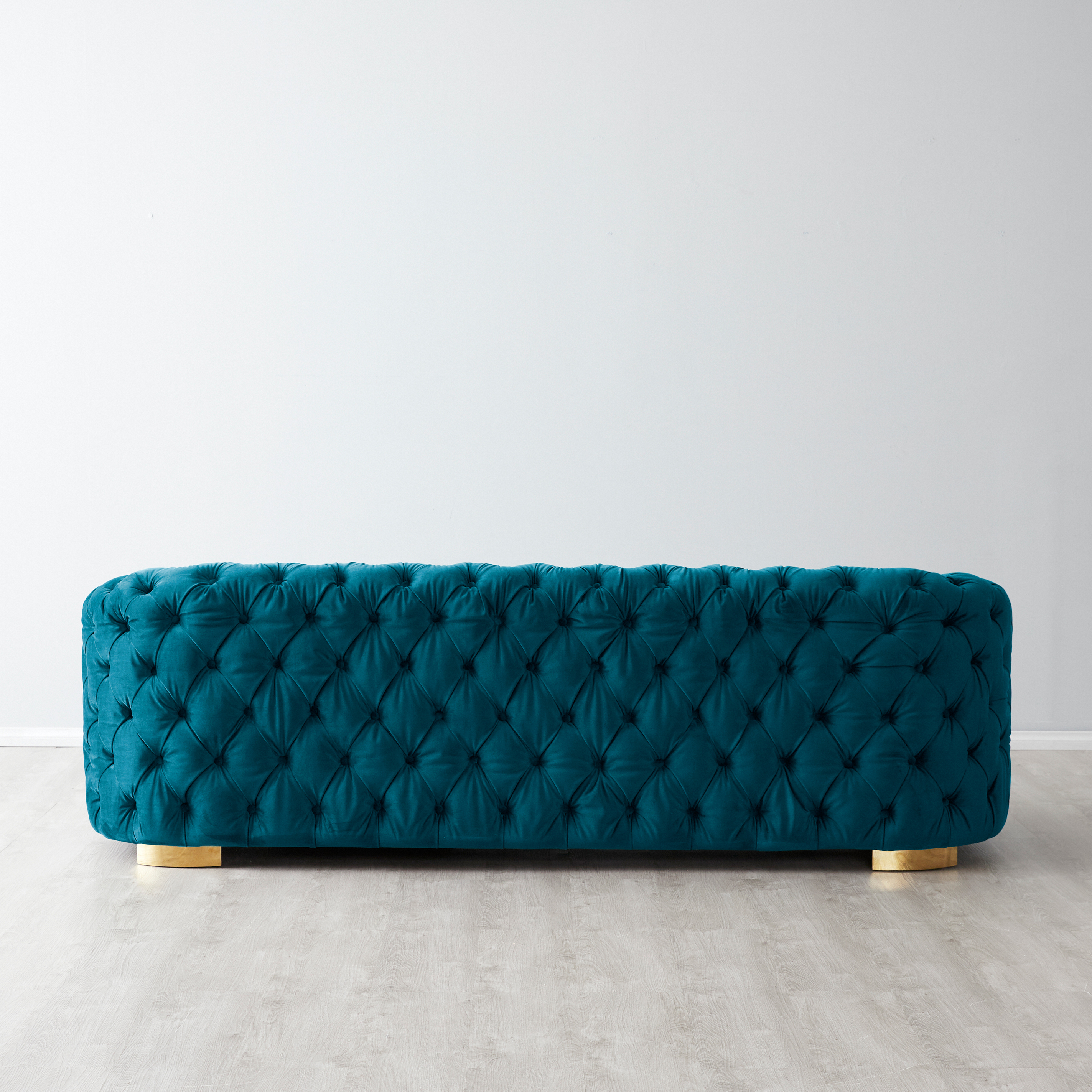 Kelly Sofa - Peacock Blue with Gold Leg