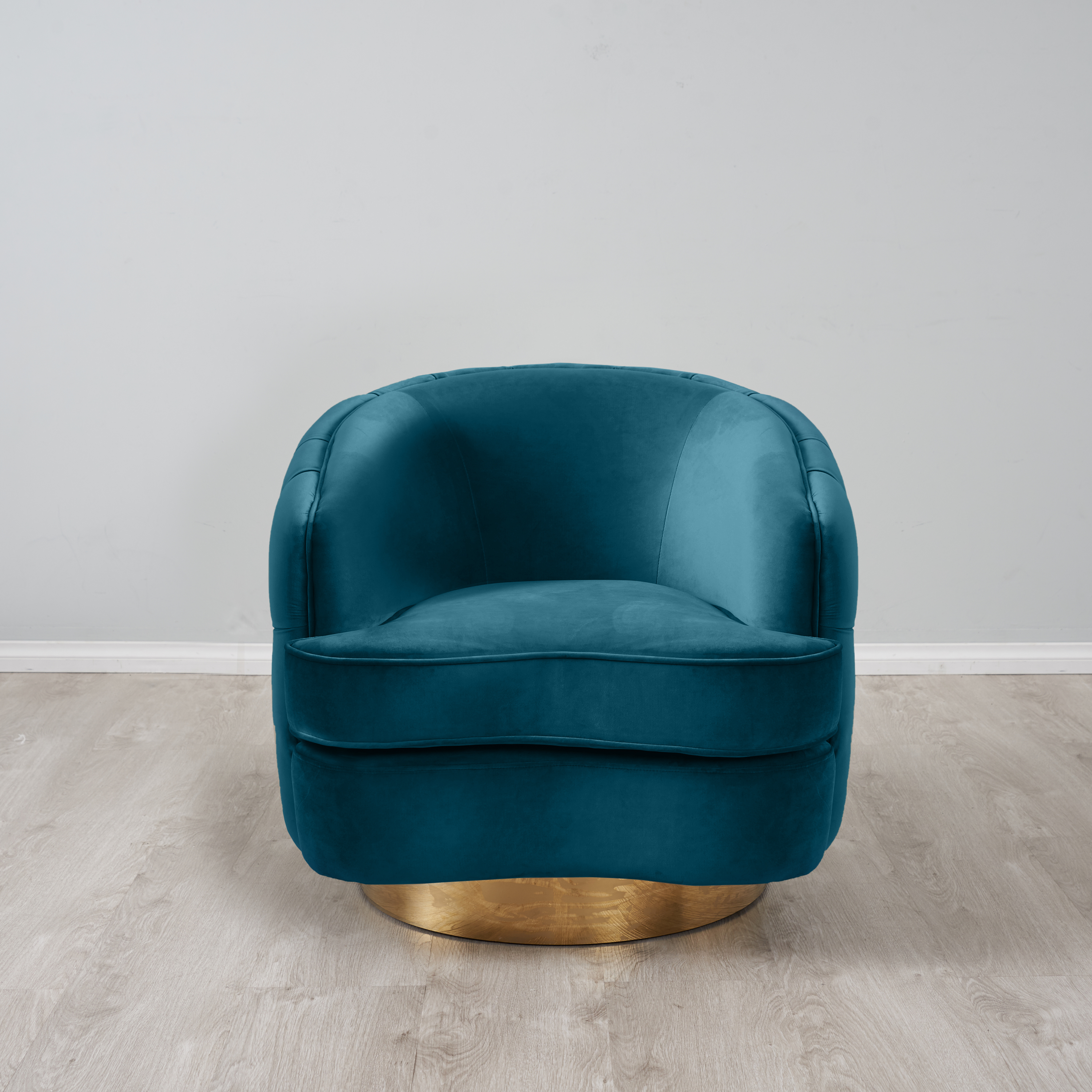 Kelly Swivel Chair - Peacock Blue with Gold Leg